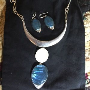 Gorgeous silver  necklace and matching earrings